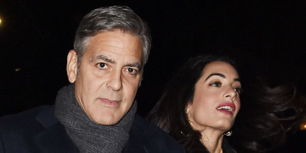 NEW YORK - MARCH 07: George Clooney and Amal Clooney get dinner at Kappo Masa sushi restaurant in Upper...