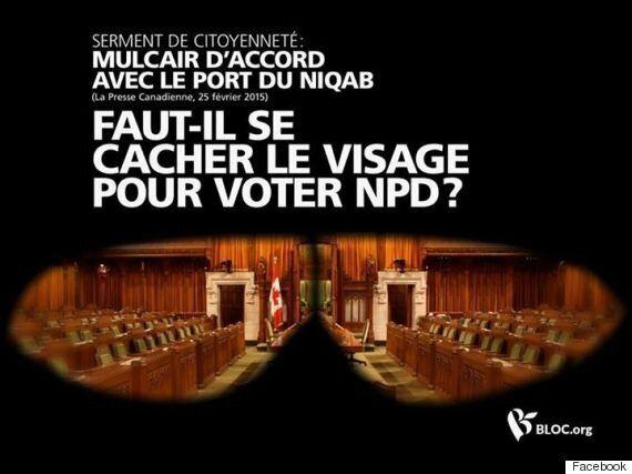 Port du niqab: la publicité choc du Bloc Québécois contre le NPD