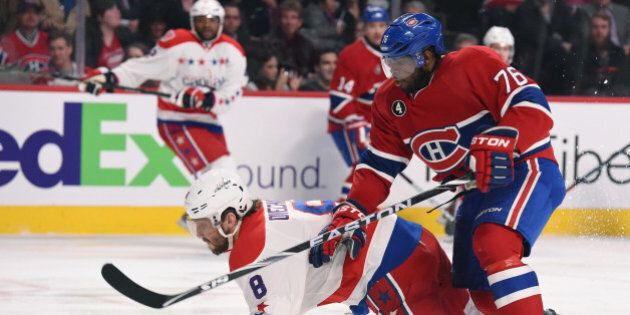 MONTREAL, QC - APRIL 2: P.K. Subban #76 of the Montreal Canadiens and Alex Ovechkin #8 of the Washington...