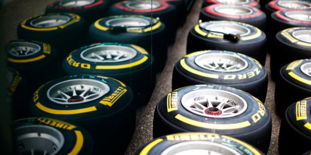 HOCKENHEIM, GERMANY - JULY 17: A general view of Pirelli tyres during previews ahead of the German Grand...