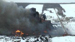 Beauceville: incendie à l'usine de recyclage de pneus Royal