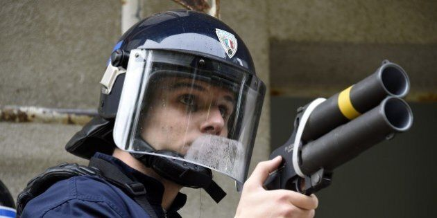 A police cadet from Nimes, holds a Flash-Ball weapon while taking part in a crowd control exercise attended...