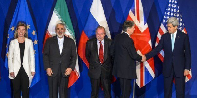 (From L) EU's foreign policy chief Federica Mogherini, Iranian Foreign Minister Mohammad Javad Zarif,...