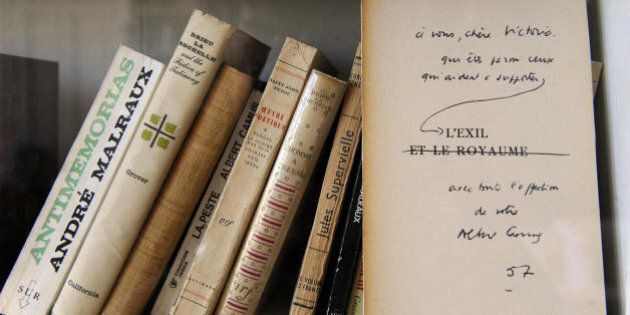 Picture taken on November 13, 2008, of a letter to Victoria Ocampo signed by French writer Albert Camus...