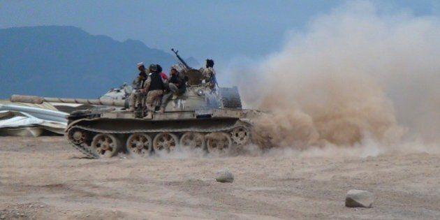 ADEN, YEMEN - MARCH 25: Members of Yemen's General People's Committee deploy at mechanized unit in Aden,...