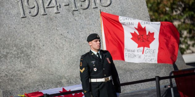 OTTAWA, ON - OCTOBER 24: A soldier in the Canadian Army stands guard at the National War Memorial during...