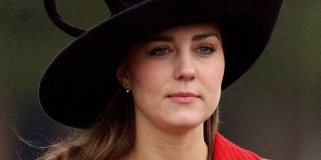 Prince William's girlfriend Kate Middleton arrives at the Sovereign's Parade at The Royal Military Academy...