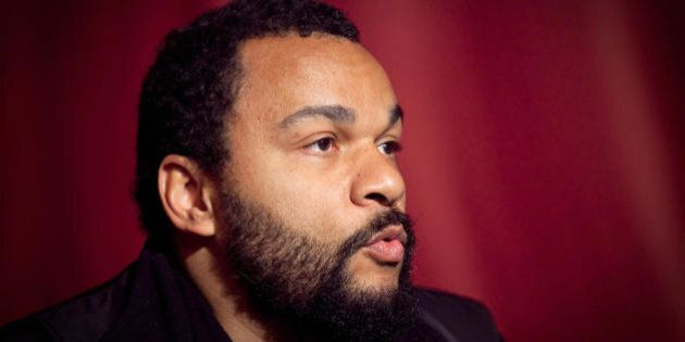 French controversial humorist Dieudonne speaks during a press conference ahead of his show on March 25,...