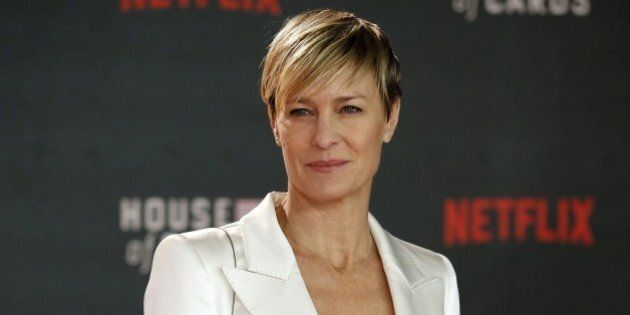 US actress Robin Wright poses for photographers on the red carpet ahead of the world premiere of the...