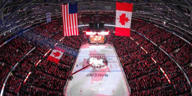 OTTAWA, ON - OCTOBER 25: In a coordinated tribute with NHL games in Montreal and Toronto to honor Canadian...