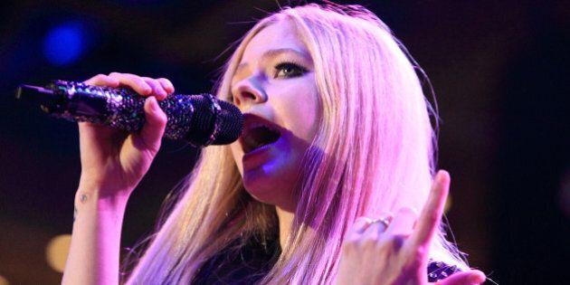 Avril Lavigne performs in concert during the Mix 106.5 Mistletoe Meltdown at SECU Arena Towson University...