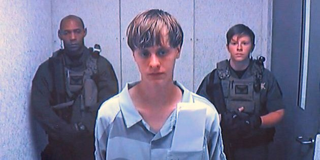 Dylann Roof appears via video before a judge in Charleston, S.C., on Friday, June 19, 2015. The 21-year-old...