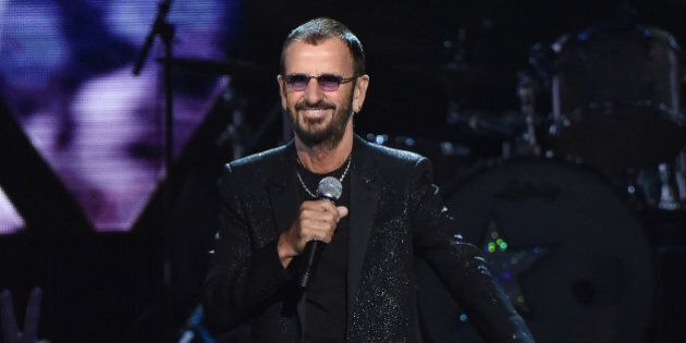 CLEVELAND, OH - APRIL 18: Inductee Ringo Starr performs onstage during the 30th Annual Rock And Roll...