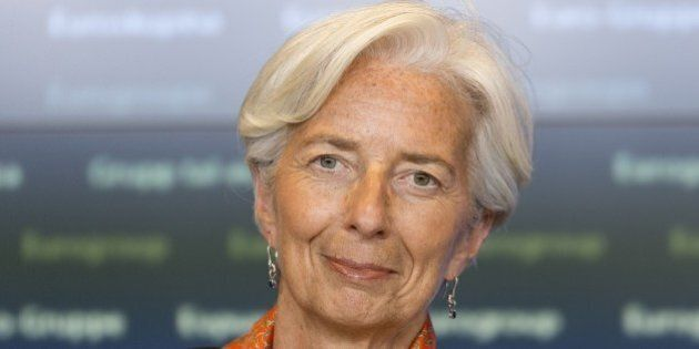 International Monetary Fund managing director Christine Lagarde attends a press conference at the end...