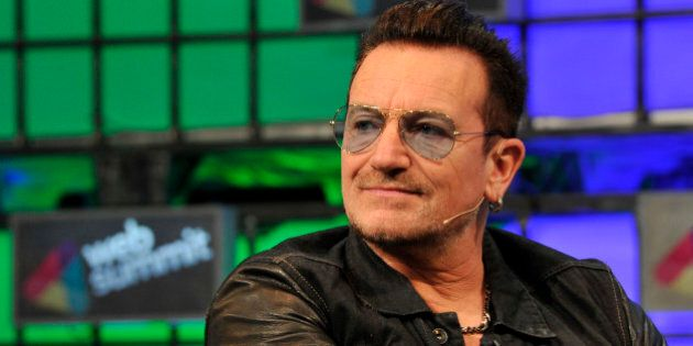 Bono from U2 speaks on centre stage during day three of the Web Summit 2014 at the RDS in