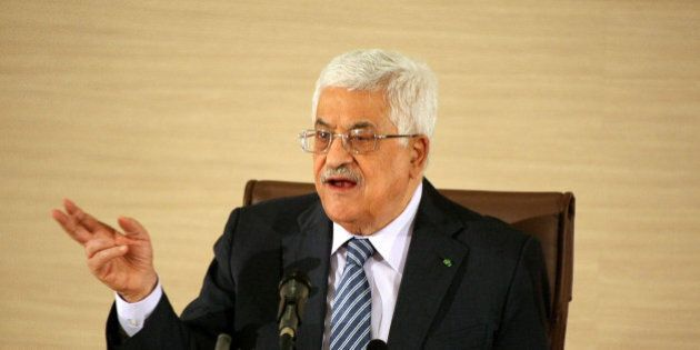 ALGIERS, ALGERIA - DECEMBER 23: Palestinian President Mahmoud Abbas holds a press conference in Algiers,...