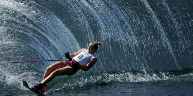 Canada's Whitney McClintock skis during the slalom portion of the women's overall water ski competition...