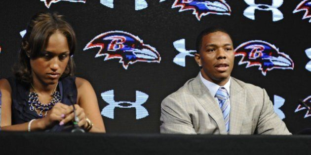 Ravens running back Ray Rice, right, and his wife Janay made statements to the news media May 5, 2014,...