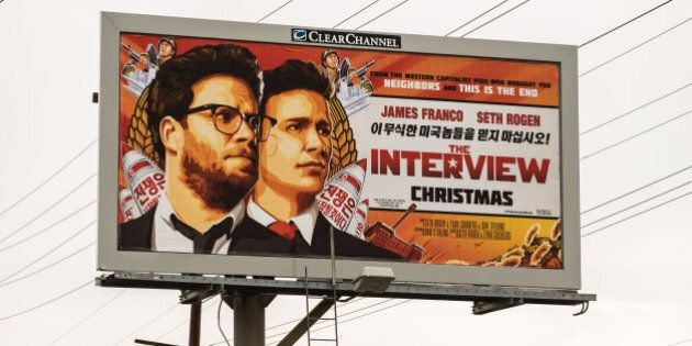 LOS ANGELES, CA - DECEMBER 19: A billboard for the film 'The Interview' is displayed December 19, 2014...