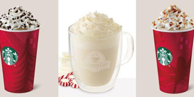 On compare huit boissons chaudes du temps des fêtes offertes chez Starbucks, Second Cup et