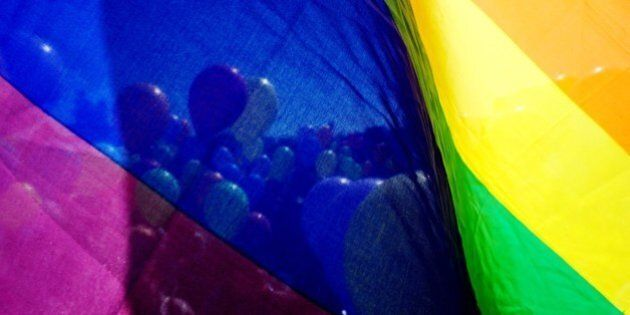 Gay rights activists holding balloons are seen through a rainbow flag as they take part in a flash mob...