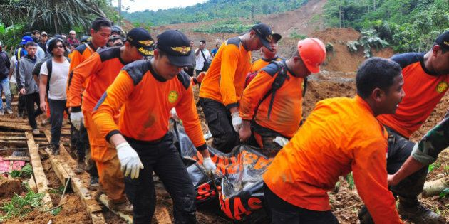 KARANGKOBAR, INDONESIA - DECEMBER 13: Rescue teams continue searching for 84 people who went missing...