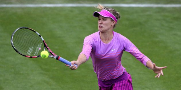 BIRMINGHAM, ENGLAND - JUNE 15: Eugenie Bouchard of Canada in action during a doubles match against Michaella...