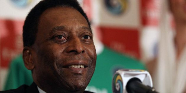 NEW YORK, NY - JUNE 04: New York Cosmos Honorary President Pelé speaks to the media during a Press Conference...