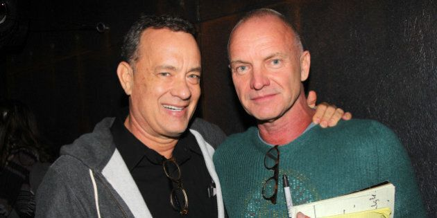 NEW YORK, NY - OCTOBER 11: Tom Hanks and Sting pose backstage at the new musical composed by Sting 'The...