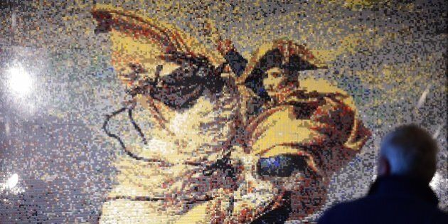 An image created using Lego bricks to give a rendition of the painting entitled 'Napoleon Crossing the...