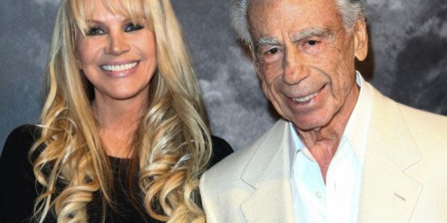 LOS ANGELES, CA - FEBRUARY 24: Joan Dangerfield (L) and Kirk Kerkorian (R) attend a dinner reception...