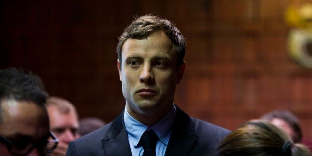 PRETORIA, SOUTH AFRICA - AUGUST 19: (SOUTH AFRICA OUT) Oscar Pistorius appears in the Pretoria Magistrates...