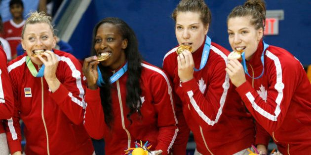 Canada's Lizanne Murphy, left, Tamara Tatham, center left, and twin sisters Katherine Plouffe, center...