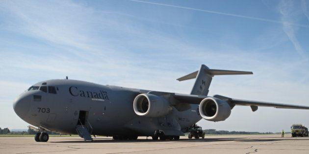 PARDUBICE, CZECH REPUBLIC - SEPTEMBER 18: Canadian Air Force CC-177 Globemaster II cargo plane is seen...