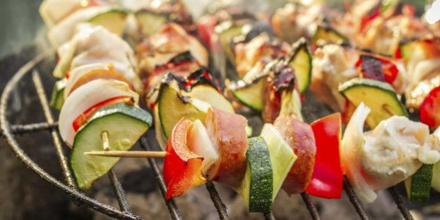 Hot skewers on the grill with