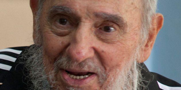 Cuba's leader Fidel Castro talks with French President Francois Hollande, not seen, in Havana, Cuba,...