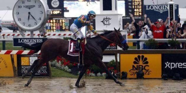 American Pharoah gagne le Belmont Stakes et remporte la Triple