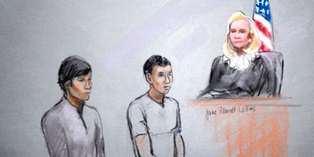 This courtroom sketch signed by artist Jane Flavell Collins shows defendants Dias Kadyrbayev, left, and...
