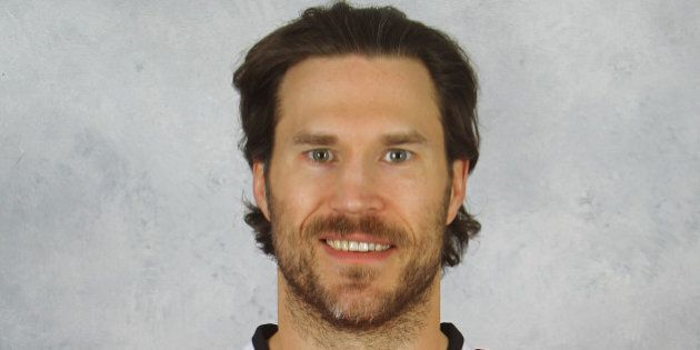 CHICAGO, IL - JANUARY 13: Steve Montador #5 of the Chicago Blackhawks poses for his official headshot for the 2012-2013 season on January 13, 2013 at the United Center in Chicago, Illinois. (Photo by Chase Agnello-Dean/NHLI via Getty Images)