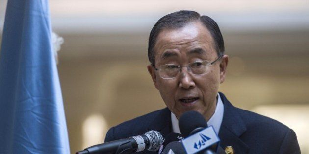 United Nations Secretary General Ban Ki Moon speaks during a press conference at the Gaza Donor Conference...