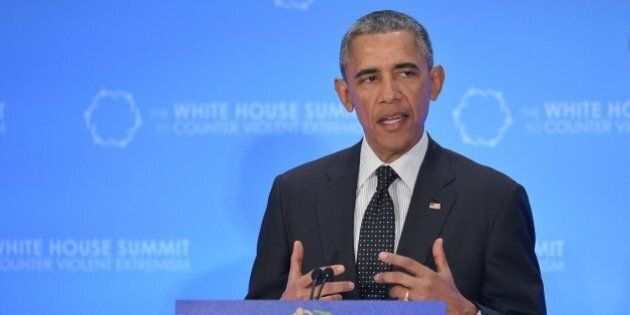 US President Barack Obama speaks at the White House Summit to Counter Violent Extremism at the State...