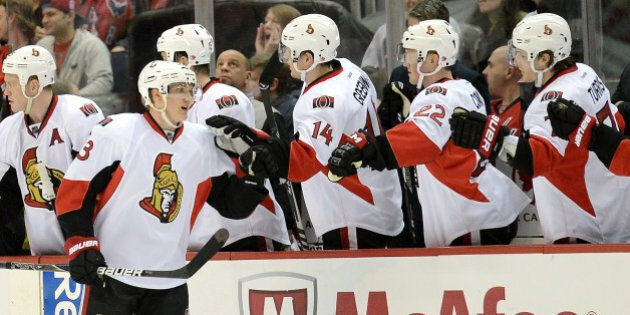 Ottawa Senators left wing Jakob Silfverberg (33) celebrates with teammates on the bench following his goal against the Washington Capitals in the second period at the Verizon Center in Washington, D.C., Thursday, April 25, 2013. The Senators defeated the Capitals in overtime, 2-1. (Chuck Myers/MCT via Getty Images)