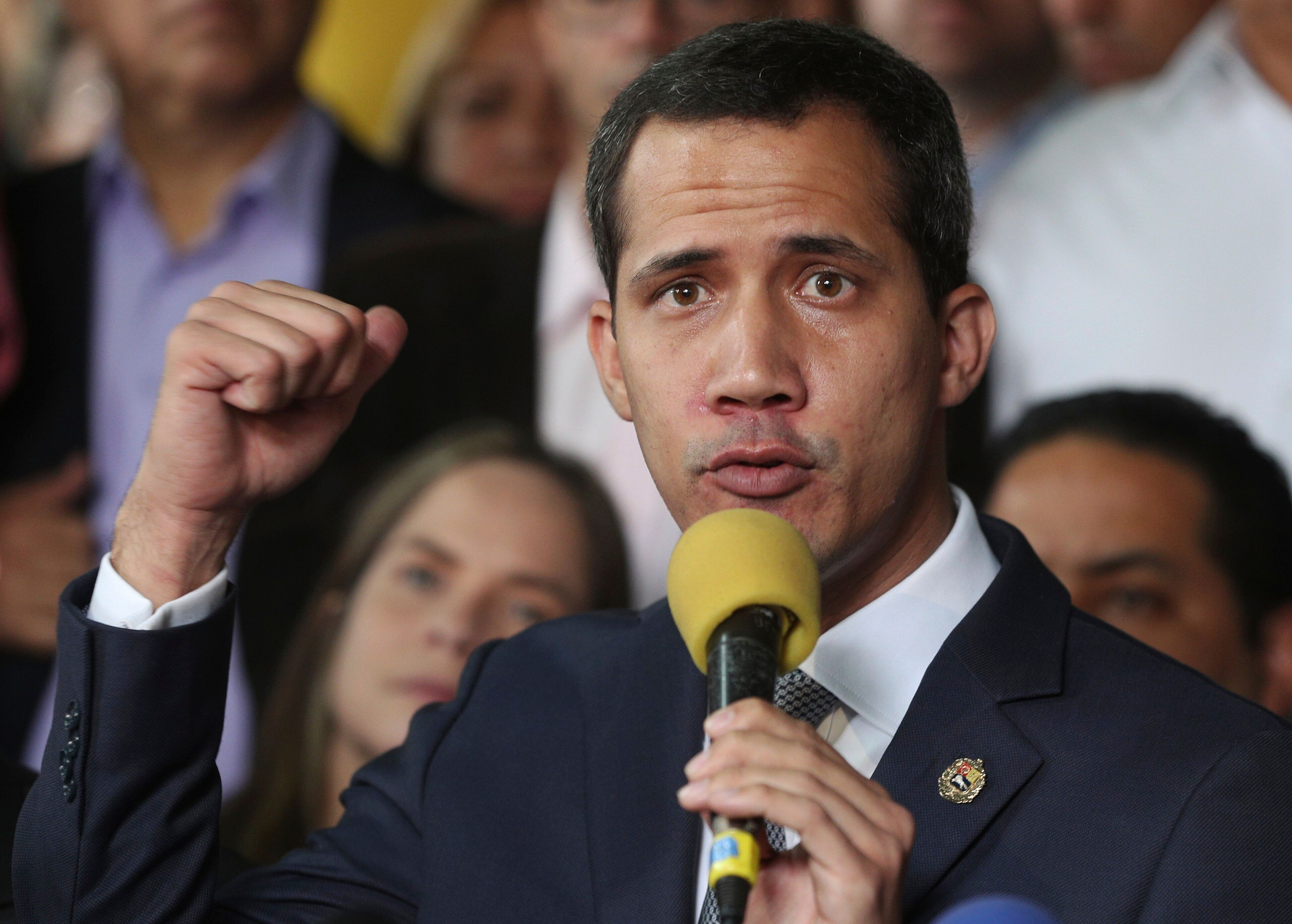 Opposition leader Juan Guaidó speaks during a press conference in Caracas, Venezuela, Friday, May 3, 2019. In the fourth month of their standoff, President Nicolás Maduro and Guaidó are unable to deliver a knock-out blow as Venezuela spirals deeper into neglect, isolation and desperation.  (AP Photo/Martin Mejia)