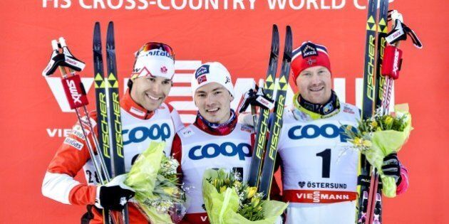 (L-R) 2nd placed Alex Harvey of Canada, 1st placed Finn Haagen Krogh of Norway and 3rd placed Timo Andre...