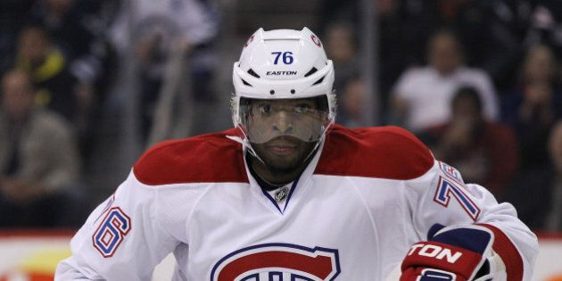 WINNIPEG, MB - OCTOBER 15: P.K. Subban #76 of the Montreal Canadiens keeps his eyes on the play as he...