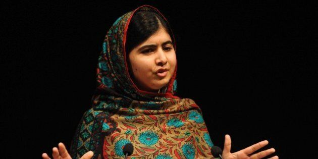Malala Yousafzai speaks during a media conference at the Library of Birmingham, in Birmingham, England,...