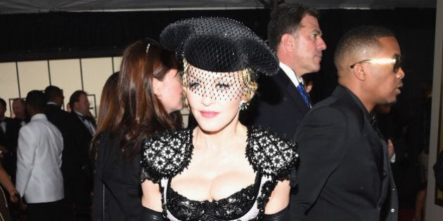 LOS ANGELES, CA - FEBRUARY 08: Madonna attends The 57th Annual GRAMMY Awards at the STAPLES Center on...