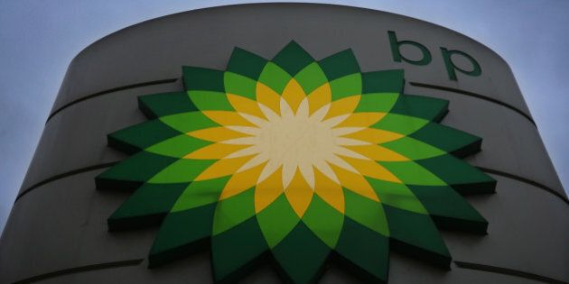 LONDON, ENGLAND - DECEMBER 17: A general view of a BP Garage sign at a filling station on December 17,...