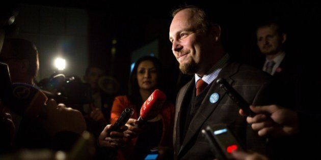 Anton Chromik, one of the leaders of the Alliance for family, speaks to the media after the preliminary...