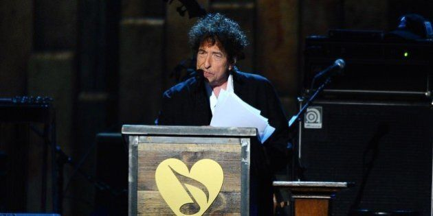 Bob Dylan accepts the 2015 MusiCares Person of the Year award on stage at the 2015 MusiCares Person of...